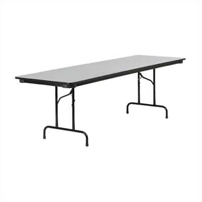 "6000 Series Rectangular Folding Table Tabletop Color: Grey Nebula, Size: 24"" x 96"" TABLE-602496-GRY091BLK01-BLK01"