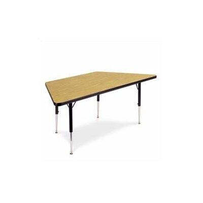 "Virco 4000 Series 48"" x 24"" Trapezoidal Classroom Table - Color: Medium Oak, Glides: Steel Glides"