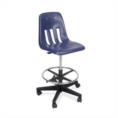 Virco Height Adjustable Lab Stool with Footring - Seat Color: Wine, Caster Type: Soft Caster Pack (5)