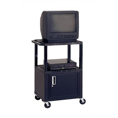 Adjustable Height Audio Visual Cart with Cabinet Color: Blue