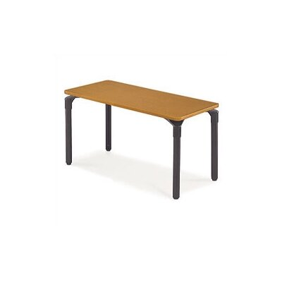 Plateau Series Training Table with Wheels Base Finish: Char Black, Tabletop Finish: Medium Oak, Size: 48 W x 30 D