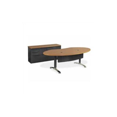 Plateau Ellipse Office Training Table with Bi-Point Leg Frame Color: Silver Mist, Top Color: Medium Product Picture 5575