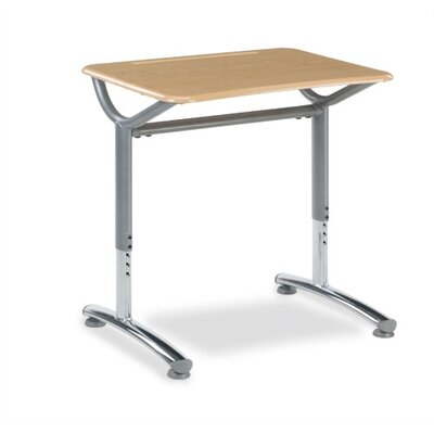 "Text Series Laminate Adjustable Height Collaborative Desk Top Type and Color: 7/8"" Thick - Fusion Maple, Frame and Upper Leg: Silver Mist TD20277YADJMPL385-GRY02"