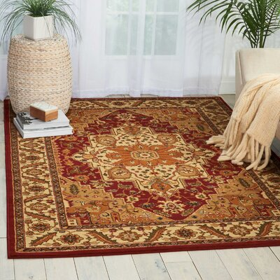 Lukeson Red/Brown Area Rug Rug Size: Rectangle 53 x 73