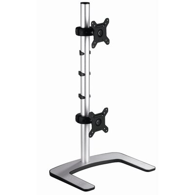 Visidec Freestanding Double Vertical Monitor Mount Height Adjustable 2 Screen Desk Mount