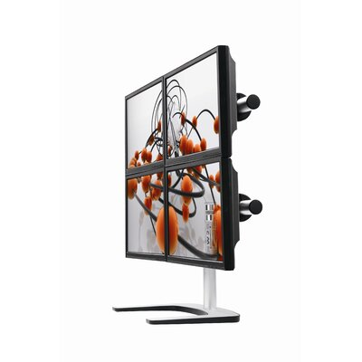 Visidec Freestanding Quad Monitor Mount Height Adjustable 4 Screen Desk Mount