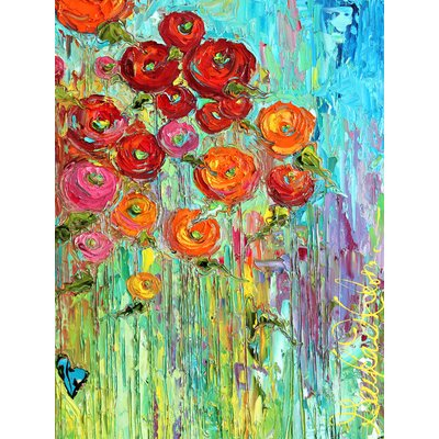 'Poppies #6' Framed Painting Print on Wrapped Canvas