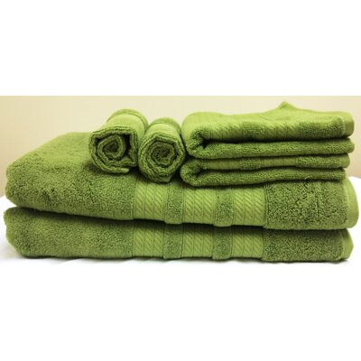 Campari Ring Spun 6 Piece Towel Set Color: Green