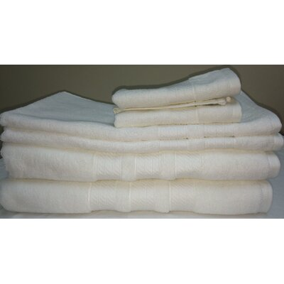 Campari Ring Spun 6 Piece Towel Set Color: White