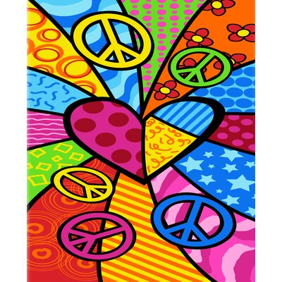 Peace Heart Print Beach Towel