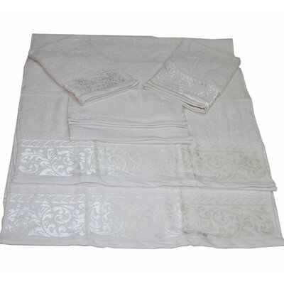 Scroll 6 Piece Towel Set Color: White