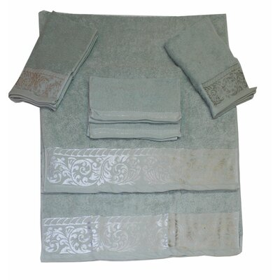 Scroll 6 Piece Towel Set Color: Aqua