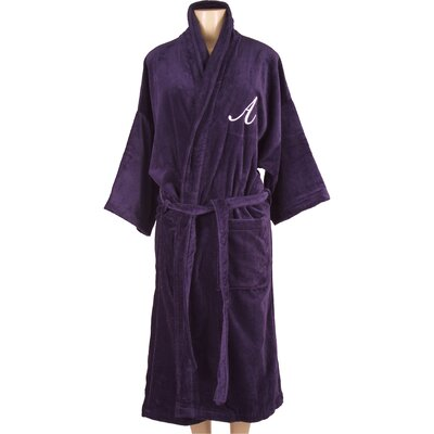 Bathrobe with Monogram Embroidery Letter: R, Color: Navy