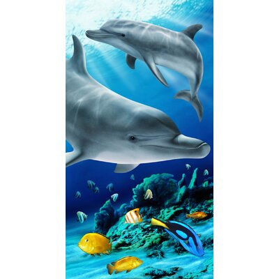 Tropical Dolphin Printed Beach Towel