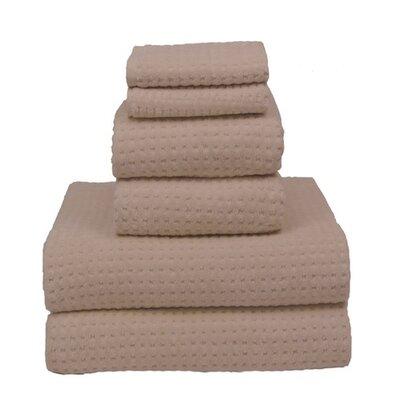 Honey Comb Sugar Cube 6 Piece Towel Set Color: Natural