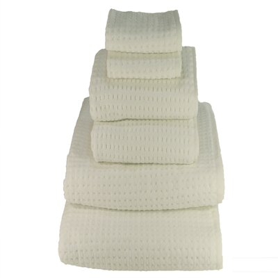 Honey Comb Sugar Cube 6 Piece Towel Set Color: White