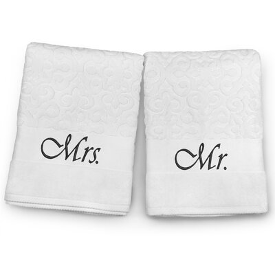 Mr / Mrs Embroidered Terry Jacquard 2 Piece Bath Towel Set Color: Black
