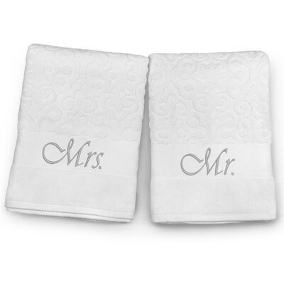 Mr / Mrs Embroidered Terry Jacquard 2 Piece Bath Towel Set Color: Silver