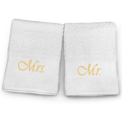 Mr / Mrs Embroidered Terry Jacquard 2 Piece Bath Towel Set Color: Gold