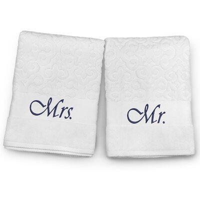 Mr / Mrs Embroidered Terry Jacquard 2 Piece Bath Towel Set Color: Navy