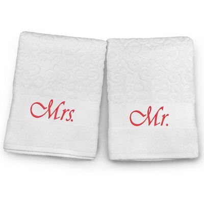Mr / Mrs Embroidered Terry Jacquard 2 Piece Bath Towel Set Color: Red