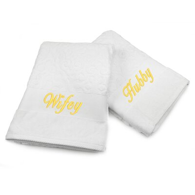 Hubby / Wifey Embroidered Terry Jacquard 2 Piece Bath Towel Set Color: Gold
