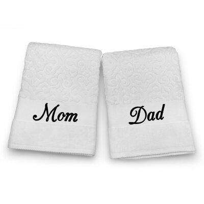 Mom / Dad Embroidered Terry Jacquard 2 Piece Bath Towel Set Color: Black