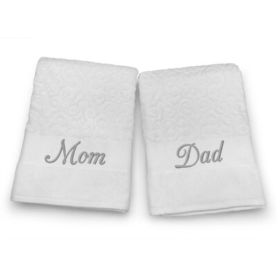 Mom / Dad Embroidered Terry Jacquard 2 Piece Bath Towel Set Color: Silver