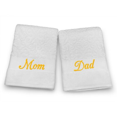 Mom / Dad Embroidered Terry Jacquard 2 Piece Bath Towel Set Color: Gold