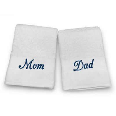 Mom / Dad Embroidered Terry Jacquard 2 Piece Bath Towel Set Color: Navy