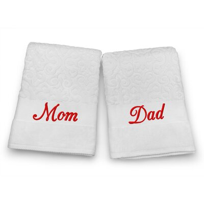 Mom / Dad Embroidered Terry Jacquard 2 Piece Bath Towel Set Color: Red