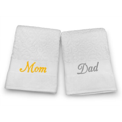 Mom / Dad Embroidered Terry Jacquard 2 Piece Bath Towel Set Color: Silver/Gold