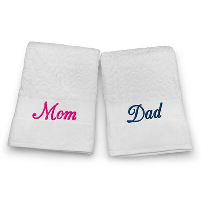 Mom / Dad Embroidered Terry Jacquard 2 Piece Bath Towel Set Color: Navy/Fuchsia