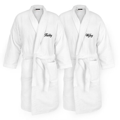 Hubby Embroidered Sugarcube Bathrobe Color: Black