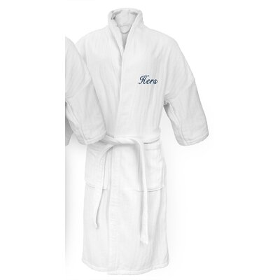 Hers Embroidered Railroad Bathrobe Color: Navy