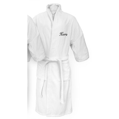 Hers Embroidered Railroad Bathrobe Color: Black