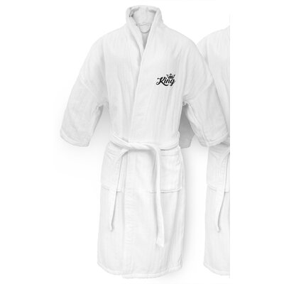King Embroidered Railroad Bathrobe Color: Black