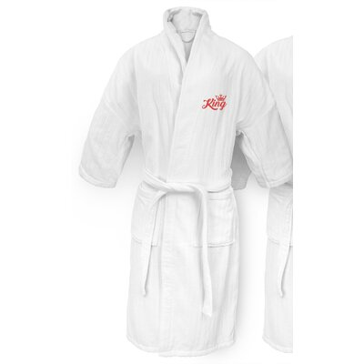 King Embroidered Railroad Bathrobe Color: Red