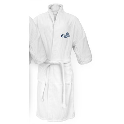 Queen Embroidered Railroad Bathrobe Color: Navy