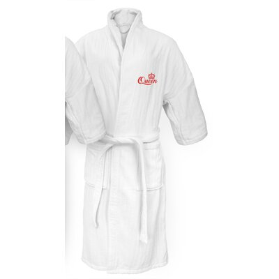 Queen Embroidered Railroad Bathrobe Color: Red