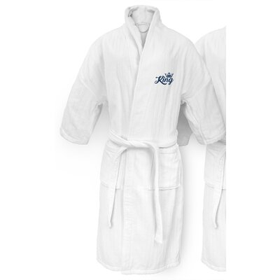 King Embroidered Railroad Bathrobe Color: Navy