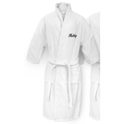 Hubby Embroidered Railroad Bathrobe Color: Black