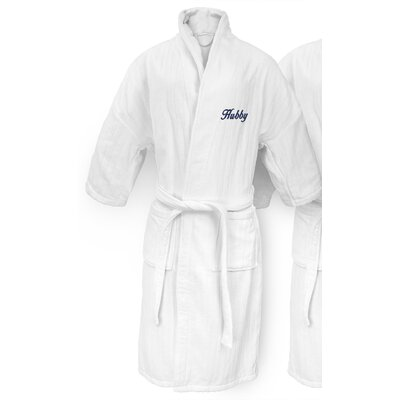 Hubby Embroidered Railroad Bathrobe Color: Navy