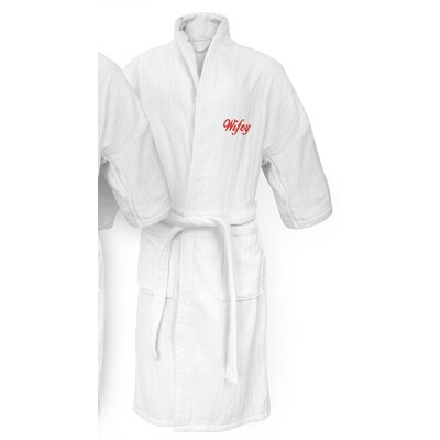 Wifey Embroidered Railroad Bathrobe Color: Red