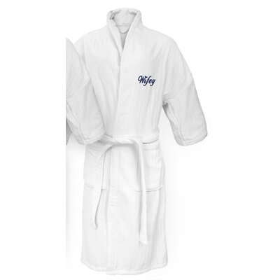 Wifey Embroidered Railroad Bathrobe Color: Navy