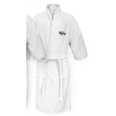 Wifey Embroidered Railroad Bathrobe Color: Black