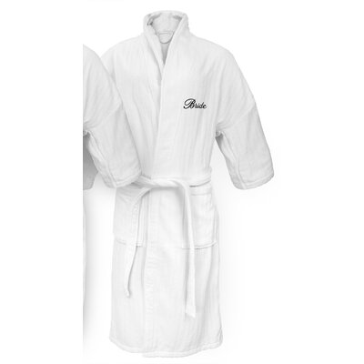 Bride Embroidered Railroad Bathrobe Color: Black