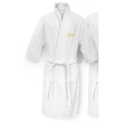 Groom Embroidered Railroad Bathrobe Color: Gold