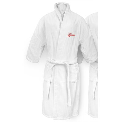 Groom Embroidered Railroad Bathrobe Color: Red
