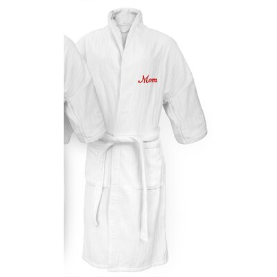 Mom Embroidered Railroad Bathrobe Color: Red
